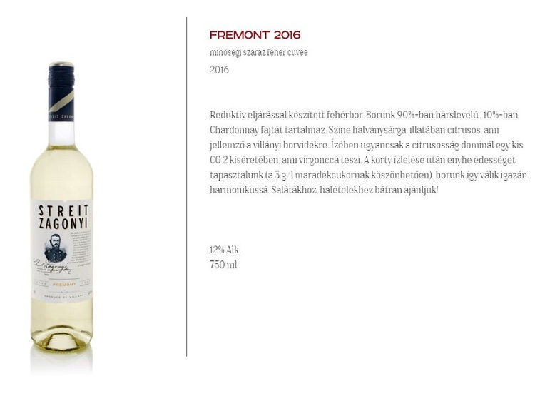 Streit-Zágonyi Fremont  0,75 L