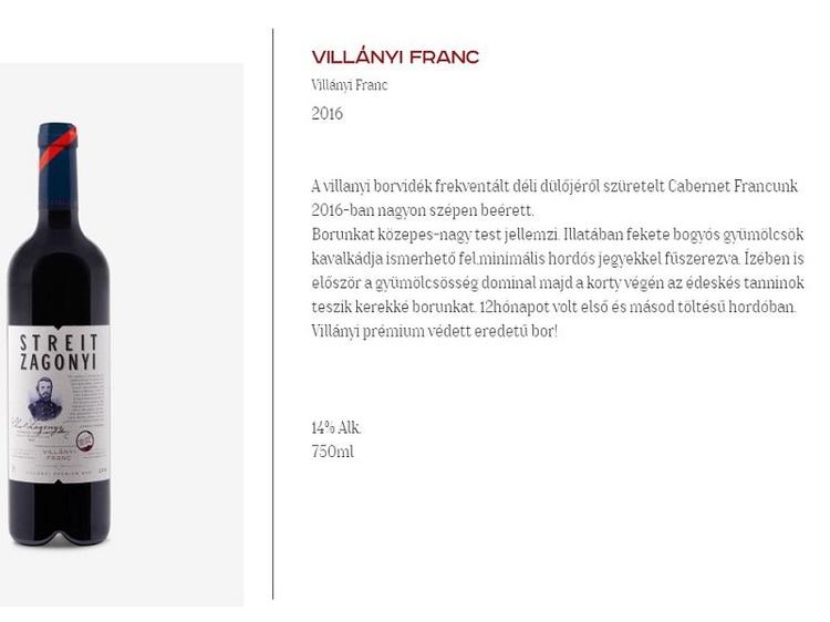 Streit-Zágonyi Villányi Cabernet Franc  0,75 L